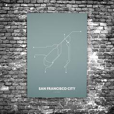 San Francisco C4 - Acrylic Glass Art Subway Maps (Acrylglas, Underground)