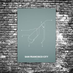 San Francisco C4 - Acrylic Glass Art Subway Maps (Acrylglas, Underground)