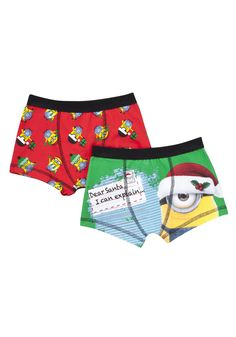 Clothing at Tesco | Universal Studios 2 Pack of Despicable Me Minion Christmas Trunks > underwear > Socks & Underwear > Kids