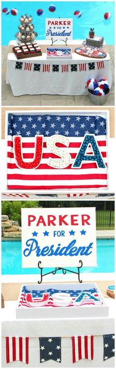 Presidential First Birthday Party Ideas // Parker for President! First Birthday Parties, First Birthdays, Birthday Ideas, Presidents Birthdays, Party Themes, Party Ideas, Heart Party, Holiday Parties, Bridal Shower