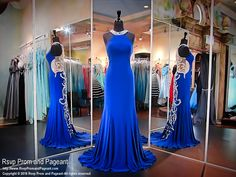 Sapphire Jersey Evening Gown-High Neckline-Fabulous Back-Blush Prom 11017 at Rsvp Prom and Pageant, your source for the HOTTEST Prom and Pageant Dresses!