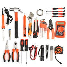 35Pcs Multifuntional Tools Kit Set Steel Household Electrician Kits  Hardware Toolbox