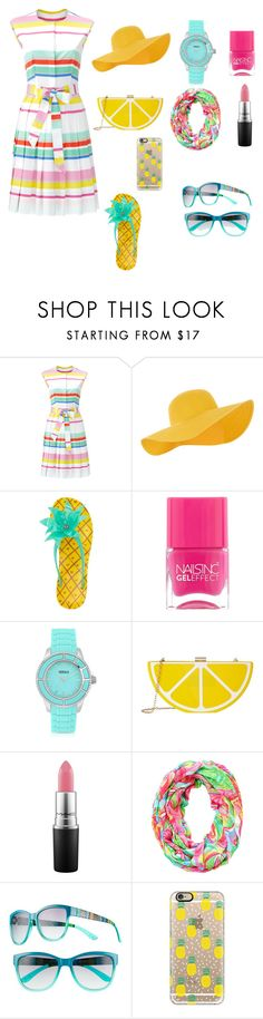 """summer"" by chloe2277 ❤ liked on Polyvore featuring Kate Spade, Accessorize, Nails Inc., Versus, Jessica McClintock, MAC Cosmetics, Lilly Pulitzer, UNIONBAY, Casetify and shirtdress"