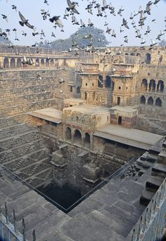 "Chand Baori in Rajasthan, India, is an amazing architectural feat. Built almost 1,000 years ago, it is a ""stepwell,"" a huge water reservoir with a series of steps in the walls that access the stored water."