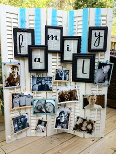 """Do this for the wedding. use """"love"""" instead of """"family"""" with Black frames, gold backgrounds, white lettering and pink ribbon to hang the frames by"""