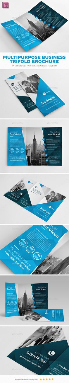 Multipurpose Business Trifold Brochure Template InDesign INDD. Download here: https://graphicriver.net/item/multipurpose-business-trifold-brochure/17088736?ref=ksioks