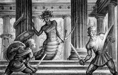 Sketch from CLASH OF THE TITANS of Medusa and Perseus, drawn by Ray Harryhausen - master of sci-fi and fantasy stop-motion figures. Creature Drawings, Animal Drawings, Pencil Drawings, Clash Of The Titans, Gods And Goddesses, Stop Motion, Mythical Creatures, Mythological Creatures, Medusa