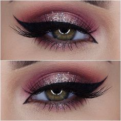#romantic + #sexy mauve smokey eye with black winged liner + glitter spotlight | #makeup @miaumauve