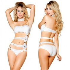 Pole Dance Clothing - White Strapped Rhinestone Monokini