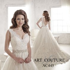 Aline tulle wedding dress with lace appliques on the hem, bodice and straps, a v-back and beaded waistband. AC445 is available in Ivory, White or Ivory Oyster. Call us to find your nearest retailer.  #artcouture #artcouturebridal #eternitybridal #eternitygroup #weddingdresses #bridal #brides #bridalgown #gettingmarried #weddingshopping #weddingdressshopping #bigday #weddingday #dresses
