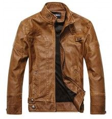 Other leather brown moto jacket