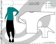 Knit/Jersey Dolman/Batwing Tunic/Top Sloper/Block Pattern - an IDEAL STARTER PATTERN for tailoring endless styles.  Printable PDF Sewing Patterns - instant PDF Download in A0/A4/US Letter format (Adobe Reader needed for processing).  This is a basic pattern that you can use as a TEMPLATE FOR TAILORING YOUR OWN STYLE sewing patterns! Shorten or lengthen, adjust ease and/or waistline, drape, add panels, pleats, pockets, etc… etc… to make your ideal garment. There is no limit on what you can…