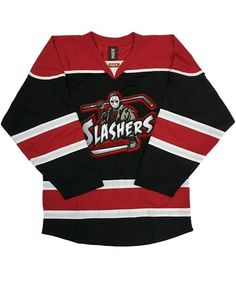 "FIRST JASON 'SLASHERS' hockey jersey ""I'm just glad it wasn't Machete Night."" -Bob Froese after fans at Madison Square Garden threw mugs on the ice on 'Mug Night.' Who better to form the core of the P"