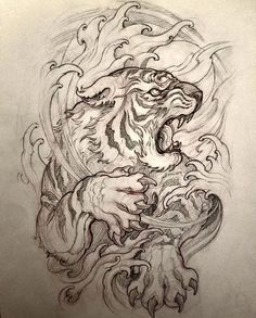 You are in the right place about lion tattoo Here we offer you the most beautiful pictures about the tattoo … Japanese Tiger Tattoo, Japanese Dragon Tattoos, Japanese Tattoo Designs, Irezumi Tattoos, Bild Tattoos, Thigh Tattoos, Tattoo Arm, Art Tattoos, Tatoos