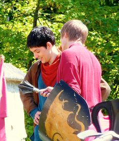 Merlin // Colin Morgan and Bradley James on set.