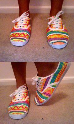 DIY tribal 'print' shoes using neon craft paint