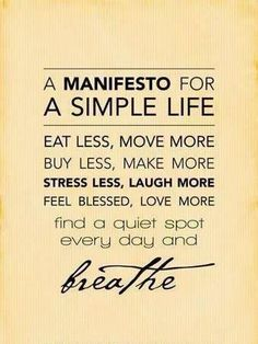 A Manifesto for a Simple Life