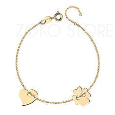 Pozłacana bransoletka celebrytka z koniczynką i sercem <3 #bransoletka #celebrytki
