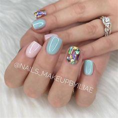 Simple Gel Nails, French Tip Gel Nails, Short Gel Nails, Sparkle Nails, Neon Nails, Pink Nails, Spring Nail Colors, Gel Nail Colors, Cute Nails