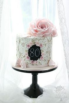 80th vintage style birthday cake with lace and roses