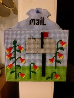 Just made this mail holder! Plastic Canvas Ornaments, Plastic Canvas Tissue Boxes, Plastic Canvas Christmas, Plastic Canvas Crafts, Plastic Canvas Stitches, Plastic Canvas Patterns, Cross Stitch Patterns, Stitching Patterns, Mail Holder