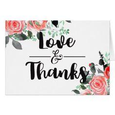 #wedding #thankyoucards - #Peach & Mint Floral Watercolor Wedding Thank You Card