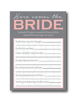 Instant Download Bridal Shower Game-- Guess What the Groom Said-Customization NOT Included