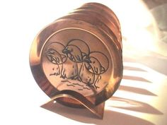 SET OF SIX COASTERS COPPER W STAND S AFRICA DOLPHINS 3 THROUGH HOOP MIDCENTURY