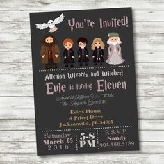 Harry Potter Birthday Invitation - Harry Potter Party Supplies - PRINTABLE Invitation - Digital Files - Harry Ron Hermione Hedwig Dumbledore by PicklesAndPosies on Etsy Birthday Party Invitations Free, Birthday Invitation Templates, Printable Invitations, Birthday Parties, 11th Birthday, Invitation Design, Harry Potter Thema, Harry Potter Birthday, Harry Potter Party Supplies