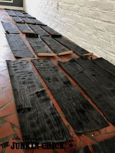 DIY Cheap Paper Bag Plank Flooring with Faux Wood Grain. What do you do when you really, really want hardwood floors but do ..  Wood Floors - CLICK PIC for Various Wood Flooring Ideas. #flooring #laminate