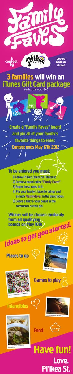 #PromotionExamples Love how they made a pin describing their Pinterest contest. This is from FamilyFaves.