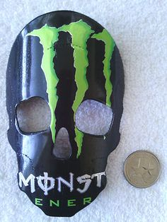Monster Energy Drink Skull Mask Green Rear View Mirror Ornament | eBay