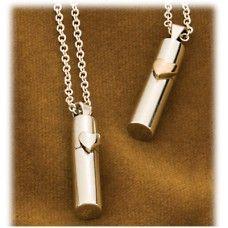 Silver Heart Urn Cylinder