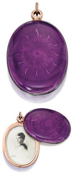 Gold, Silver and Guilloché Enamel Pendant-Locket, Fabergé, with Workmaster Henrik Wigström The oval-shaped pendant with dark lavender enamel over a sunburst guilloché ground, the interior fitted with a mirror facing a portrait of Tsarevich Alexei Nikolaevich, stamped Fabergé, with Russian hallmark and workshop mark for Henrik Wigström; circa 1899-1908.