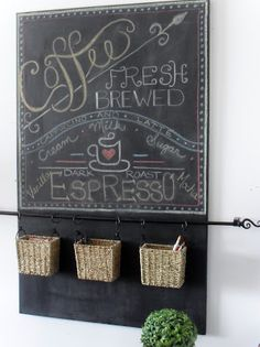 Home Frosting: Canvas Chalkboard and Seagrass Basket Organizer - skip the chalkboard and just hang the rod/baskets for keys/wallets, etc. by the entrance.