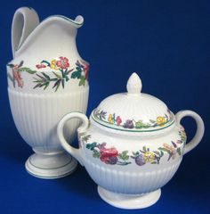 Wedgwood Floral Cream Jug And Sugar Edme Wildflowers 1920s Large Queen – Antiques And Teacups