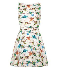 Another great find on #zulily! White Hummingbird A-Line Dress by Iska London #zulilyfinds
