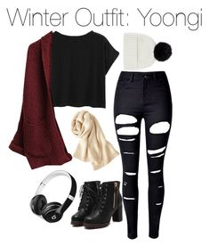 """""""Winter Outfit: Yoongi"""" by kookiechu ❤ liked on Polyvore featuring WithChic, Jaeger, Beats by Dr. Dre and Uniqlo"""