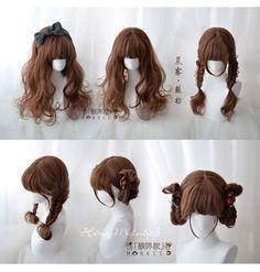Wig hairstYle Kawaii Hairstyles, Pretty Hairstyles, Wig Hairstyles, Wig Styles, Curly Hair Styles, Kawaii Wigs, 3 4 Face, Drawing Hair Tutorial, Lolita Hair