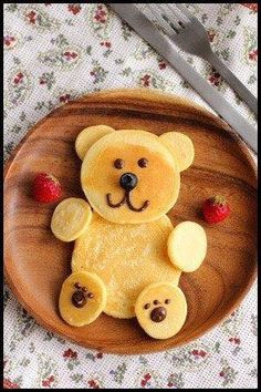 Pancake Teddy Bear (with chocolate syrup and blue nose)