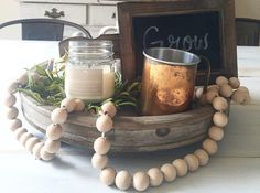 wood bead garland  decorative accent piece by HouseOn77thSigns