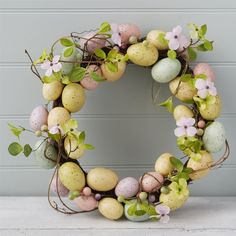 Easter Egg and Flowers 40cm Wreath