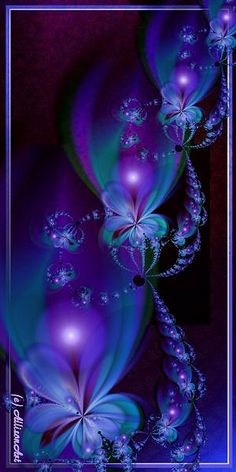 "Purples...This fractal is named ""Phosture."" It was created by Linda Allison using the program Ultrafractal, written by Frederik Slijkerman (ultrafractal.com). You can find ""Phosture"" at allisonart.com; Gallery 9 (of 20 galleries)."