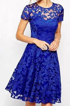 Stylish Round Neck Short Sleeve Solid Color Lace Dress For Women