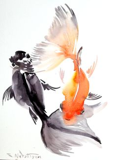 Goldfish, original watercolor painting, 12 X 9 in, fish painting, fish art, Asian watercolor style, expressionism, watercolor fish art on Etsy, Sold