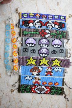 Mario Bros. Pixel loom beaded bracelets choose 1 -made to order mushroom death shroom star ladybug piranha plant mario firball mario goomba