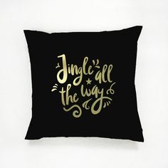 Jingle All The Way Pillow Gold Pillow Christmas by LovelyPosters Beige Pillows, Couch Pillows, Throw Pillows, Modern Pillow Covers, Modern Pillows, Guest Room Decor, Bedroom Decor, Christmas Pillow, Christmas Decor