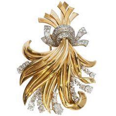 Mellerio Diamond Gold Bouquet Brooch