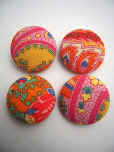 Vintage Hippie Girl Fabric Covered Buttons by CampStoreVintage