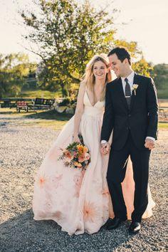 A beautiful DIY wedding on Block Island, the bride dons a watercolor dress: http://www.stylemepretty.com/2014/06/09/diy-wedding-block-island-watercolored-gown/ | Photography: http://www.katieslaterphotography.com/